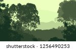 2d illustration. trees in the... | Shutterstock . vector #1256490253