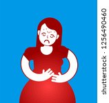 pms icon. menstrual pain girl... | Shutterstock .eps vector #1256490460