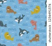childish nautical pattern. cute ... | Shutterstock .eps vector #1256491576