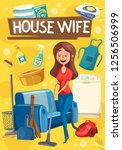 house wife doing housework or... | Shutterstock .eps vector #1256506999