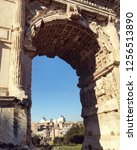 view of forum romanum through... | Shutterstock . vector #1256513890