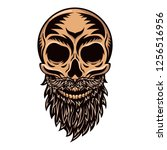 white graphic human skull with... | Shutterstock .eps vector #1256516956