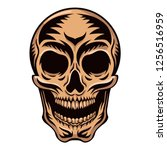 white graphic human skull with... | Shutterstock .eps vector #1256516959