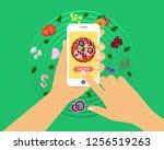 order pizza online in... | Shutterstock .eps vector #1256519263
