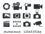 photo and video icons. vintage. ... | Shutterstock .eps vector #1256519266