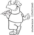 black and white illustration of ... | Shutterstock .eps vector #1256521660