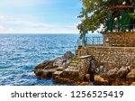 lovran  croatia. rocky stone...   Shutterstock . vector #1256525419