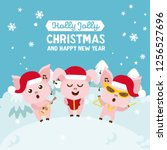 christmas greeting card. merry... | Shutterstock .eps vector #1256527696