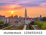 brussels city hall and mont des ...   Shutterstock . vector #1256531413
