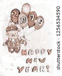 chinese 2019 new year symbol... | Shutterstock . vector #1256534590