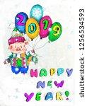 chinese 2019 new year symbol... | Shutterstock . vector #1256534593