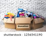 three donation boxes in room | Shutterstock . vector #1256541190