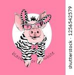 cute pink pig in a sunglass and ... | Shutterstock .eps vector #1256542579