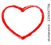 red heart contour painted by... | Shutterstock .eps vector #1256547706