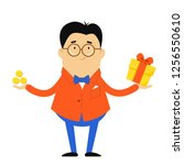 the guy in the jacket and bow... | Shutterstock .eps vector #1256550610