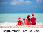 happy family on a tropical... | Shutterstock . vector #1256553856