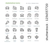 automotive icons   outline... | Shutterstock .eps vector #1256557720