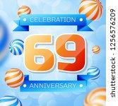 realistic sixty nine years... | Shutterstock . vector #1256576209
