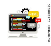 web development  computer... | Shutterstock .eps vector #1256585380