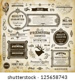 Stock vector vector set of calligraphic design elements page decoration premium quality and satisfaction 125658743