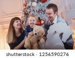 happy family with a child spend ... | Shutterstock . vector #1256590276