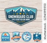 set of snowboard club patches.... | Shutterstock .eps vector #1256595553