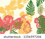 tropical background. green ... | Shutterstock .eps vector #1256597206