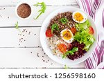 buckwheat porridge buddha bowls ... | Shutterstock . vector #1256598160
