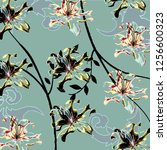 floral bouquet vector pattern... | Shutterstock .eps vector #1256600323