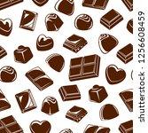 chocolate candies seamless... | Shutterstock .eps vector #1256608459