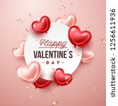 valentines day background with... | Shutterstock .eps vector #1256611936