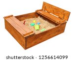 wooden children s sandbox with... | Shutterstock . vector #1256614099