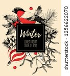 vector vintage card with finch... | Shutterstock .eps vector #1256622070