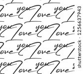 vintage love you quote pattern. ... | Shutterstock .eps vector #1256637943