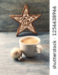 cup of coffee  christmas bauble ... | Shutterstock . vector #1256638966