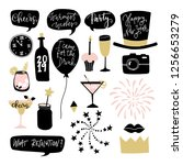 set of hand drawn new year or... | Shutterstock .eps vector #1256653279