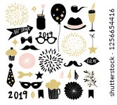 set of hand drawn new year or... | Shutterstock .eps vector #1256654416