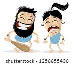 funny cartoon illustration of a ... | Shutterstock .eps vector #1256655436