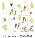 happy active people in various... | Shutterstock . vector #1256663089