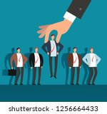 employer hand choosing man from ... | Shutterstock . vector #1256664433