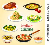 italian cuisine dishes of meat... | Shutterstock .eps vector #1256667076