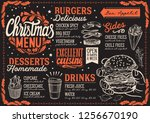christmas menu template for... | Shutterstock .eps vector #1256670190