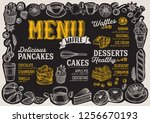 waffle and pancake menu... | Shutterstock .eps vector #1256670193