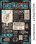 christmas menu template for... | Shutterstock .eps vector #1256670196