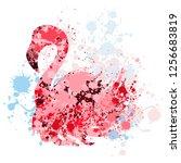 flamingo made of paint splatters | Shutterstock . vector #1256683819