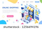 online shopping. woman and...   Shutterstock .eps vector #1256694196