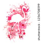 flamingo silhouette on... | Shutterstock .eps vector #1256708599