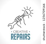 repairs icon   hand with wrench ... | Shutterstock .eps vector #1256709166