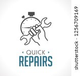 repairs icon   hand with wrench ... | Shutterstock .eps vector #1256709169