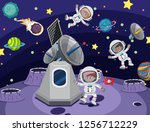 astronaut in the space... | Shutterstock .eps vector #1256712229